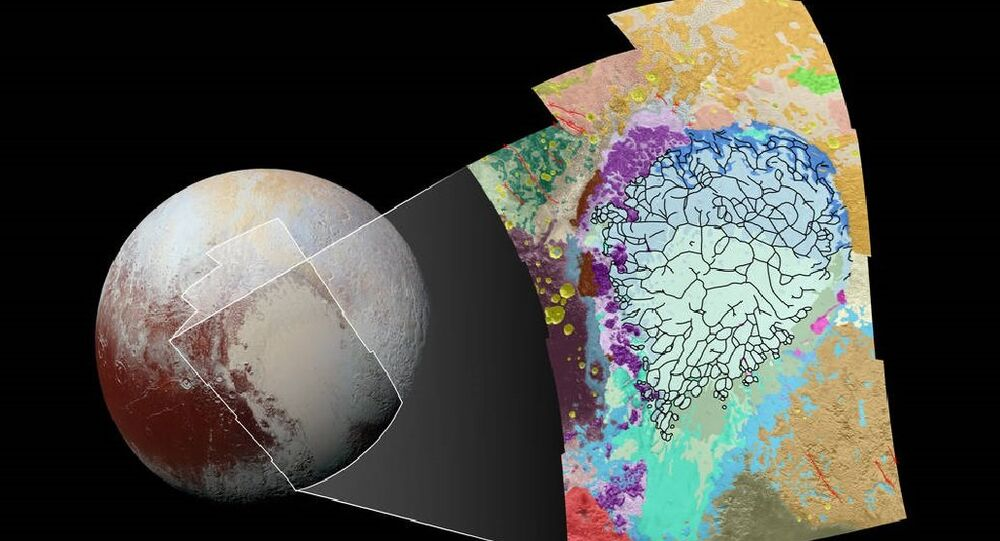 This map of the left side of Pluto's heart-shaped feature uses colors to represent Pluto's varied terrains, which helps scientists understand the complex geological processes at work