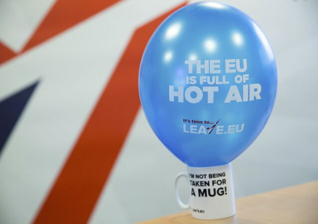 A branded balloon and mug are seen in the office of pro-Brexit group pressure group Leave.eu in London, Britain.