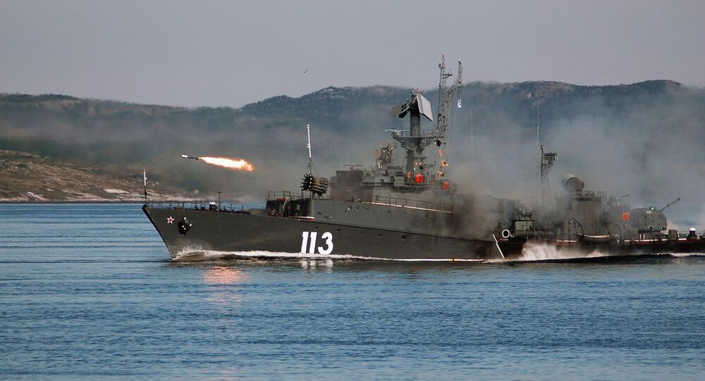 Firing missiles. The Northern Fleet, Severomorsk.