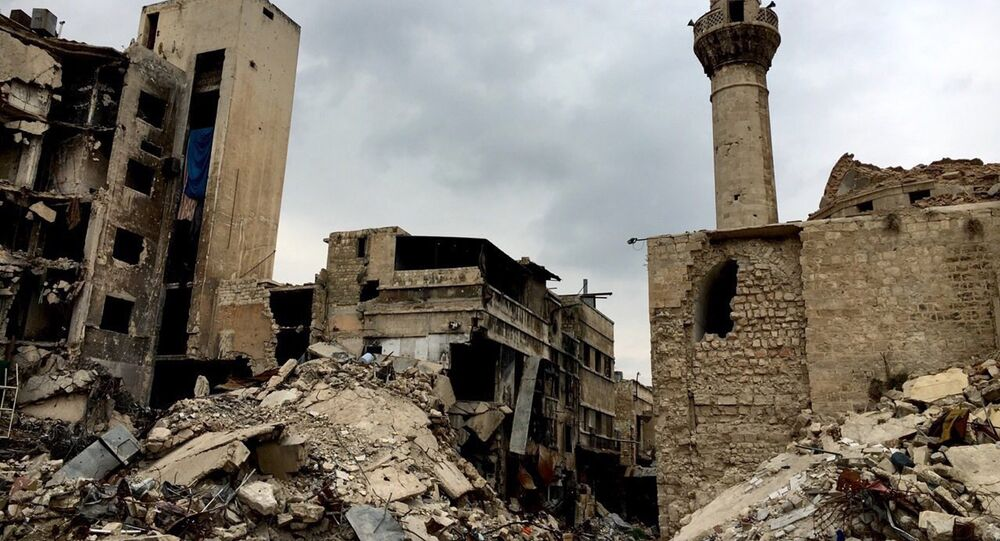 Old Town destruction in Aleppo. This 12th-16th-century set of buildings was included into the UNESCO World Heritage list in 1986.