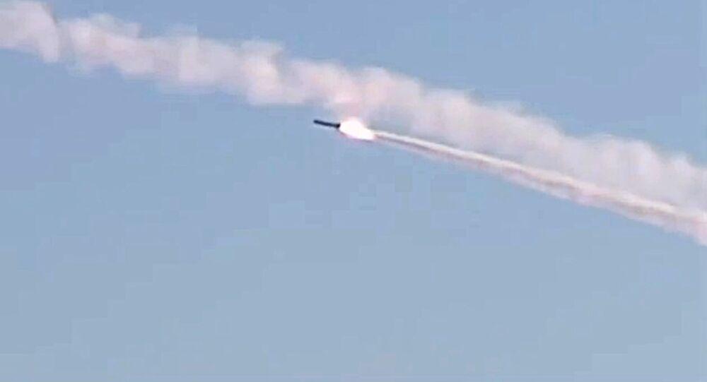 Rostov-on-Don submarine launches several 3M-54 Kalibr (Klub) anti-ship missiles. (File)