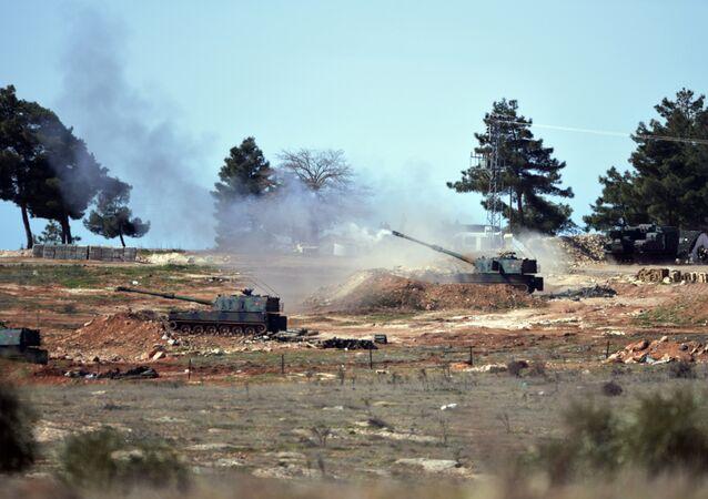 Turkish artillery fire from the border near Kilis town toward northern Syria, in Kilis, Turkey.
