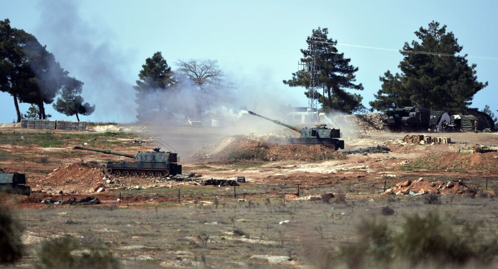Turkish artillery fire from the border near Kilis town toward northern Syria, in Kilis, Turkey.