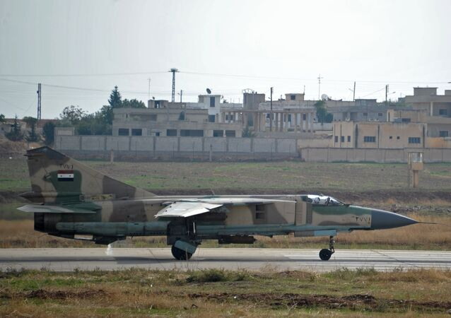 MiG-23 aircraft of the Syrian Air Force at the Hama airbase near the city of Hama, Syria's Hama Province
