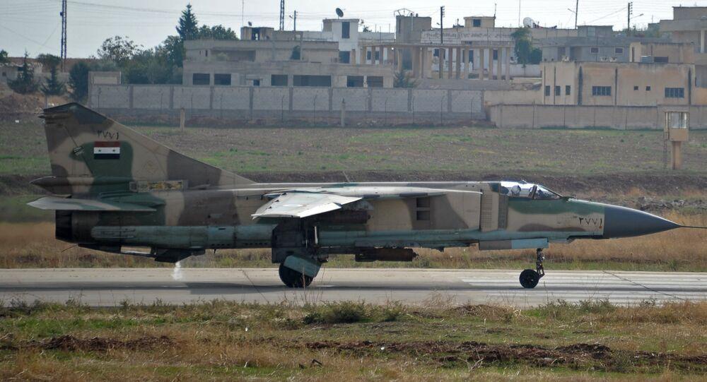 MiG-23 aircraft of the Syrian Air Force at the Hama airbase near the city of Hama, Syria's Hama Province