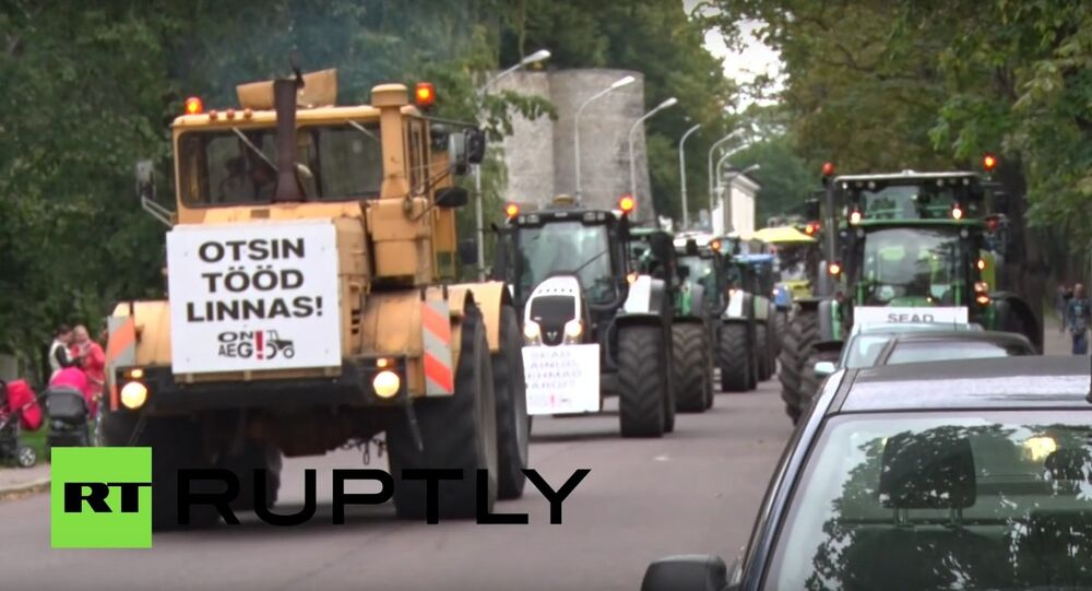 Farmers stage a rally in the Estonian capital Tallinn to protest the EU's anti-Russian sanctions