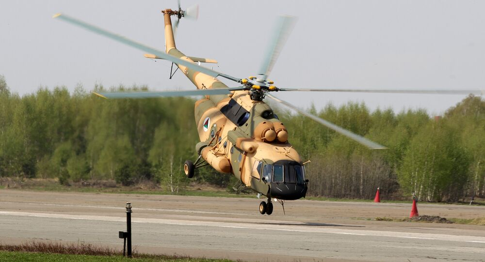 Mi-17 V-5 helicopter is demonstrated at the testing facility of the OAO Kazan Helicopter Plant