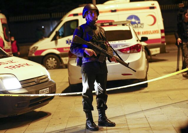 Turkish soldier stands guard near the site of an explosion in Ankara, Turkey February 17, 2016