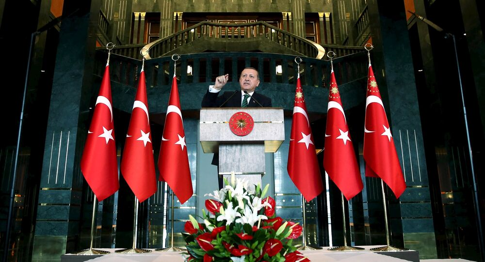 Turkish President Tayyip Erdogan makes a speech during a meeting in Ankara, Turkey February 17, 2016, in this handout photo provided by the Presidential Palace