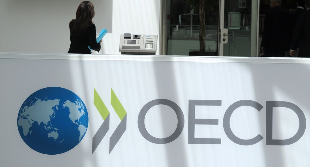 A participant stands at the OECD headquarters in Paris during the presentation of the Economic Outlook at the 2013 OECD Week on May 29, 2013