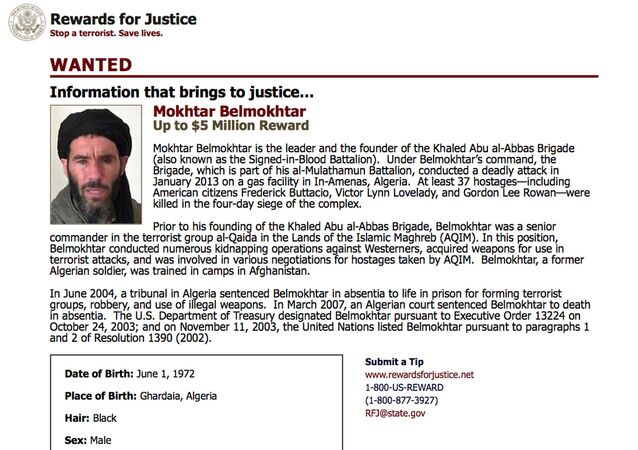 This wanted poster from the website of the U.S. State Department's Rewards For Justice program shows a mugshot of Mokhtar Belmokhtar, charged with leading the attack on a gas plant in Algeria in 2013 that killed at least 35 hostages, including three Americans