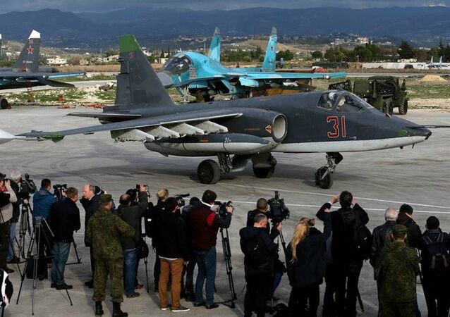 Foreign journalists at the Hmeymim airbase in Syria