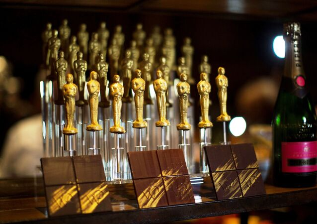 Oscar shaped chocolates are pictured at a preview of the food and decor for the 87th Academy Awards' Governors Ball at the Ray Dolby ballroom in Hollywood, California.