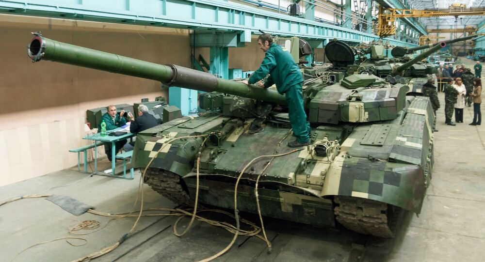 Ukrainian Oplot (Stronghold) battle tanks are intended for delivery to Thailand in a workshop of the Malyshev Plant in Kharkiv on September 8, 2013