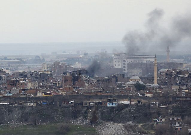 Buildings which were damaged during the security operations and clashes between Turkish security forces and Kurdish militants, are pictured in Sur district of Diyarbakir, Turkey February 11, 2016