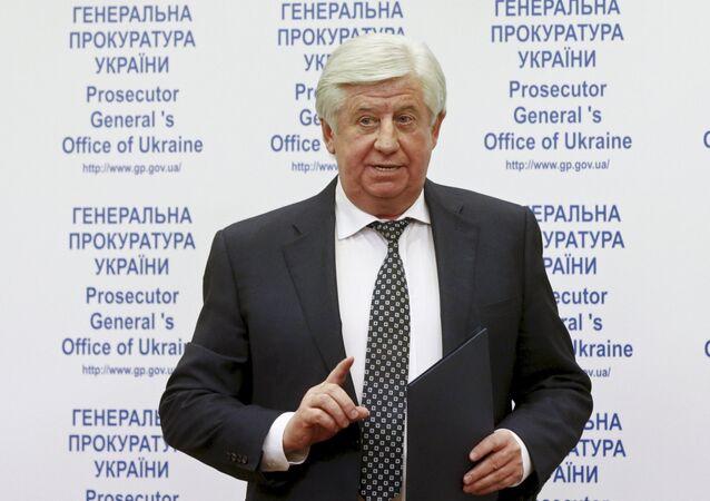 Ukraine's General Prosecutor Viktor Shokin speaks during a news conference in Kiev, Ukraine, in this November 2, 2015 file photo