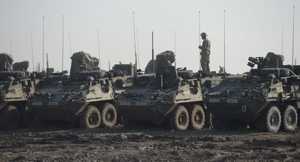 US soldier of the 2nd Cavalry Regiment is seen atop a Stryker Infantry Carrier Vehicle (File)