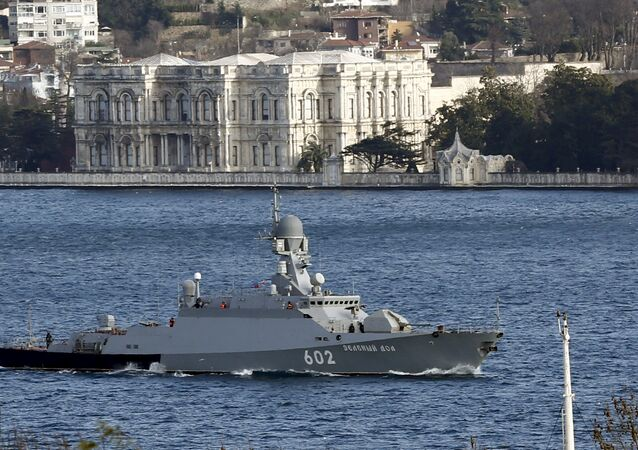 The Russian Navy's missile corvette Zeleny Dol sails in the Bosphorus, on its way to the Mediterranean Sea, in Istanbul, Turkey February 14, 2016