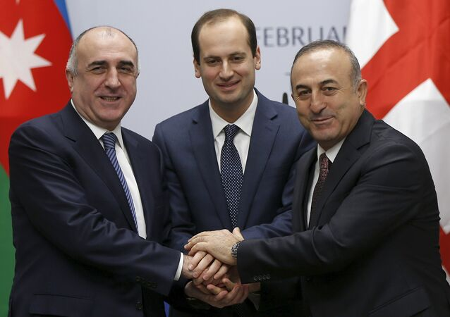 Foreign Ministers Elmar Mammadyarov (L) of Azerbaijan, Mikheil Janelidze (C) of Georgia and Mevlut Cavusoglu of Turkey pose for photograph after their meeting in Tbilisi, Georgia, February 19, 2016