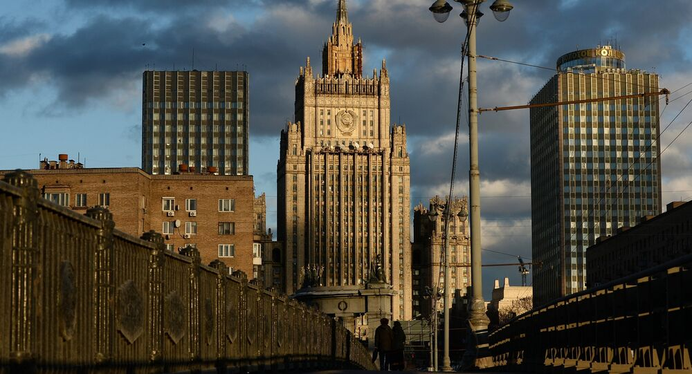 The Foreign Ministry building as seen from the Borodinsky Bridge in Moscow.
