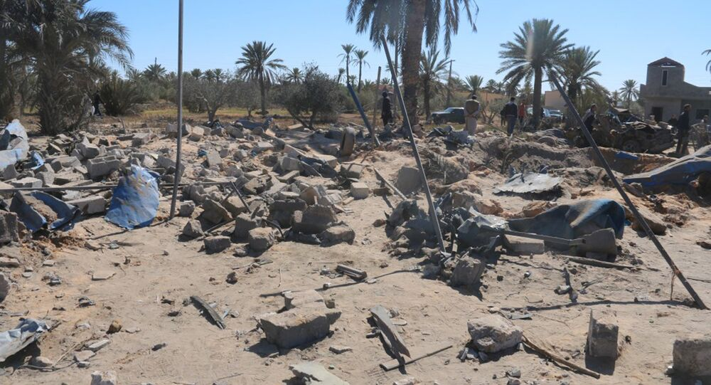 A view shows damage at the scene after an airstrike by U.S. warplanes against Islamic State in Sabratha, Libya in this February 19, 2016 handout picture