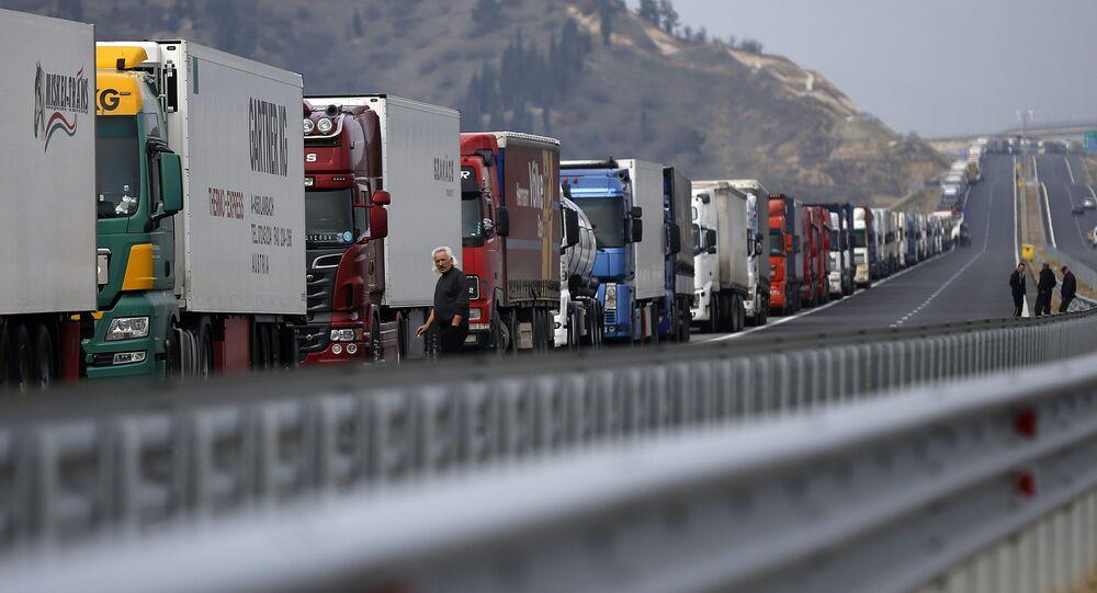 Trucks are seen on a highway near the Kulata border crossing between Bulgaria and Greece, Bulgaria February 17, 2016