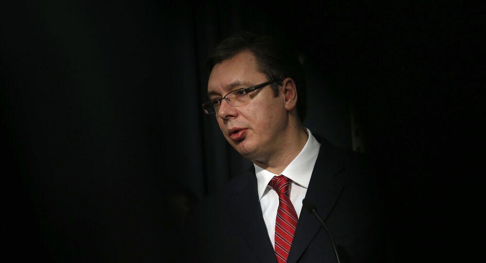 Serbian Prime Minister Aleksandar Vucic speaks during a news conference in Belgrade, Serbia, Saturday, Feb. 20, 2016