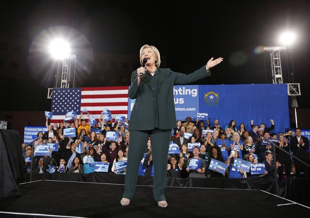 Democratic presidential candidate Hillary Clinton speaks during a rally Friday, Feb. 19, 2016, in Las Vegas