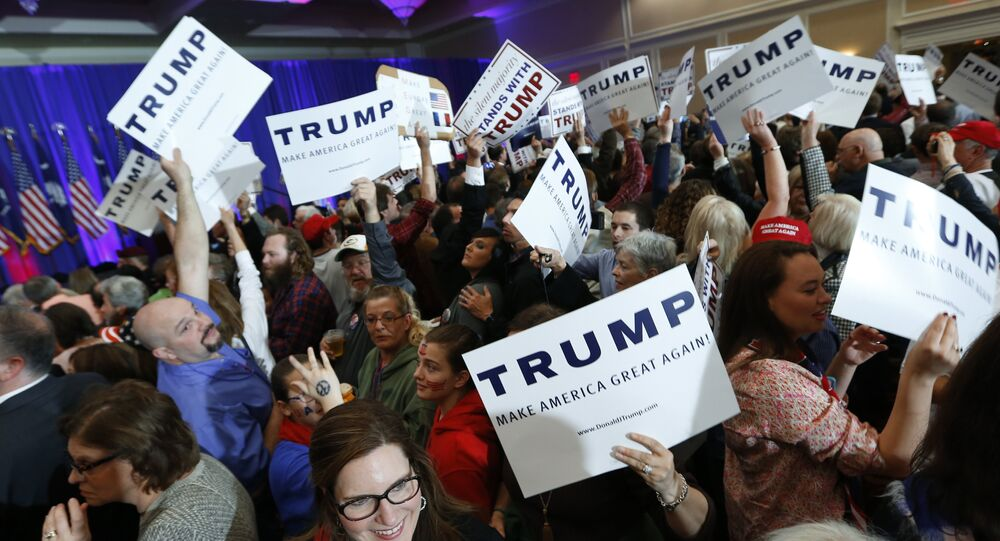 Trump supporters rally behind their candidate during the South Carolina primary process on Friday, February 19.