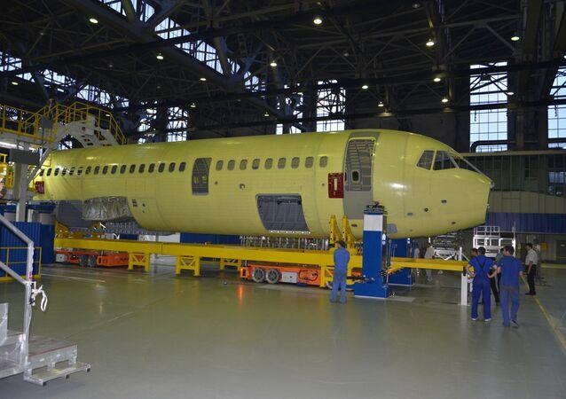 Construction of the MC-21 passenger plane