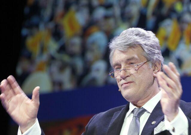 Ukrainian politician Viktor Yushchenko delivers a speech at the Oslo Freedom Forum in Oslo, on May 27, 2015