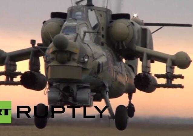 Combat helicopters flaunt their firepower in Krasnodar drills