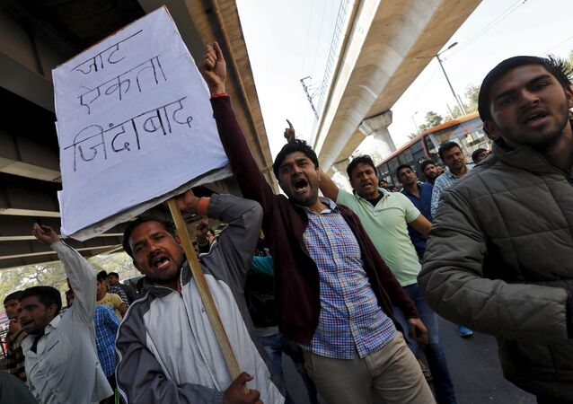 Demonstrators from the Jat community shout slogans during a protest in New Delhi, India, February 21, 2016
