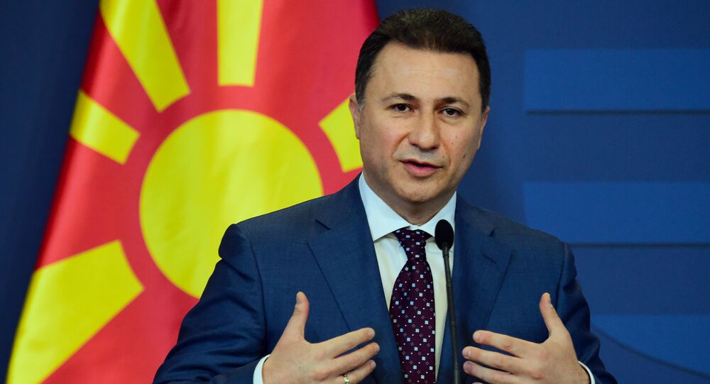 Macedonian then Prime Minister Nikola Gruevski gives a joint press conference with his Hungarian counterpart (not pictured) at the delegation hall of the parliament building in Budapest on November 20, 2015.