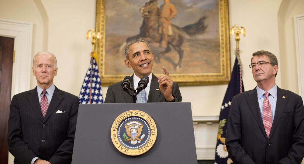 President Barack Obama, accompanied by Vice President Joe Biden and Defense Secretary Ash Carter, speaks in the Roosevelt Room of the White House in Washington, Tuesday, Feb. 23, 2016, to discuss the detention center at Guantanamo Bay, Cuba.