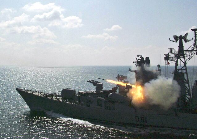 Indian Navy's warship Rajput fires rockets during a special drill in the Bay of Bengal near Paradeep, India.