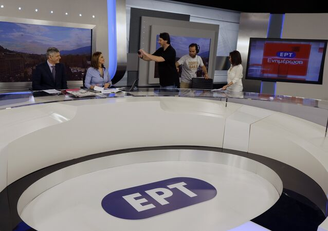 Presenters of ERT's morning news show (file photo)