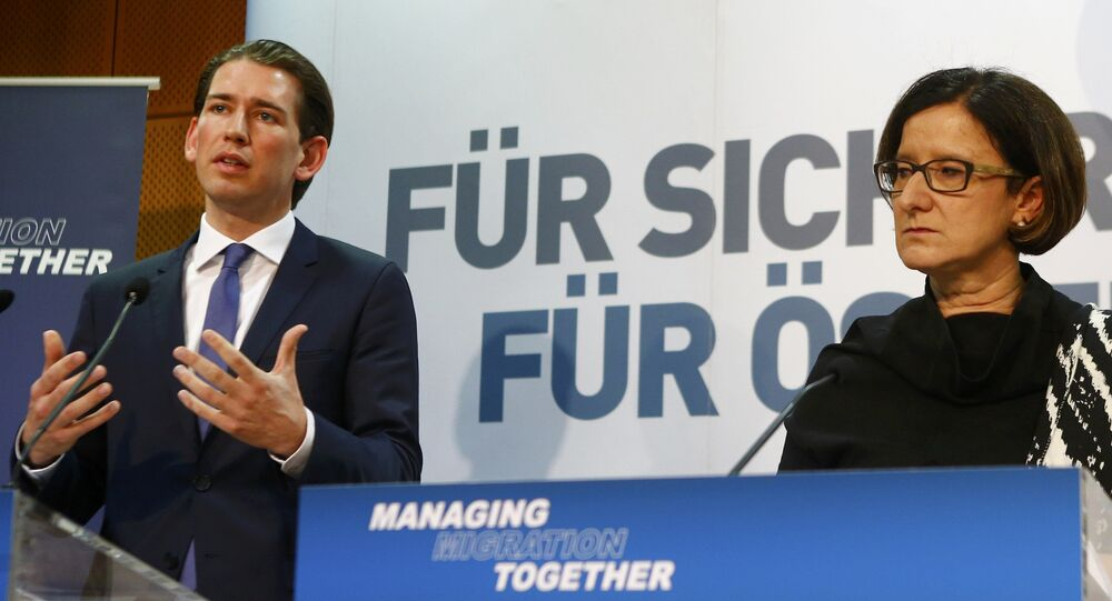 Austrian Foreign Minister Sebastian Kurz (L) and Interior Minister Johanna Mikl-Leitner address a news conference after the conference Managing Migration Together in Vienna, Austria, February 24, 2016.