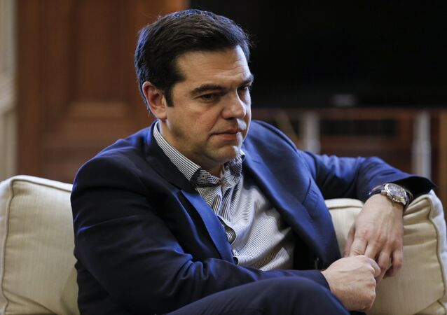 Greek Prime Minister Alexis Tsipras looks on during a meeting with Mayor of Piraeus Yannis Moralis (not pictured) at his office at the Maximos Mansion in Athens, Greece, February 11, 2016.