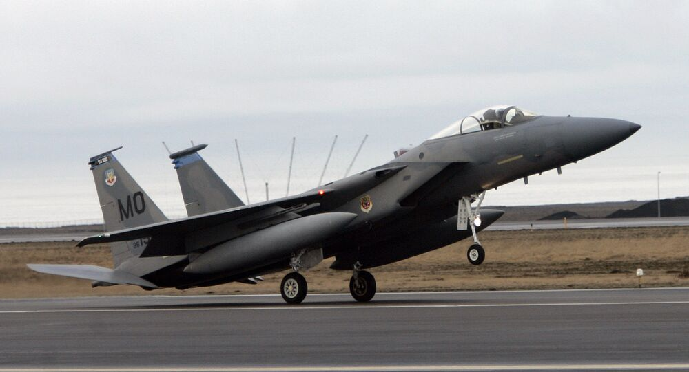 An F15 fighter jet lands at the Keflavik US Air Base, Keflavik, Iceland, Friday Feb. 24, 2006. (File)