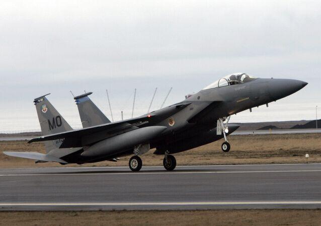 An F-15 fighter jet lands at the Keflavik US Air Base, Keflavik, Iceland, Friday Feb. 24, 2006. (File)