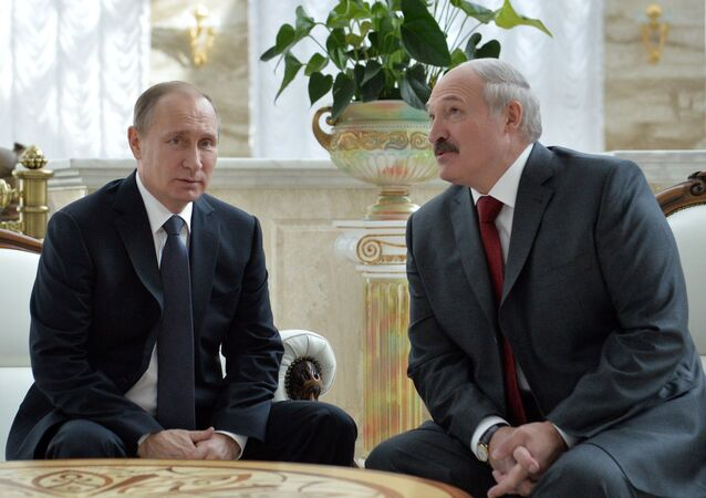 Russian President Vladimir Putin (left) and Belarusian President Alexander Lukashenko meeting before the session of the Supreme State Council of the Union State of Russia and Belarus in Minsk, February 25, 2016.