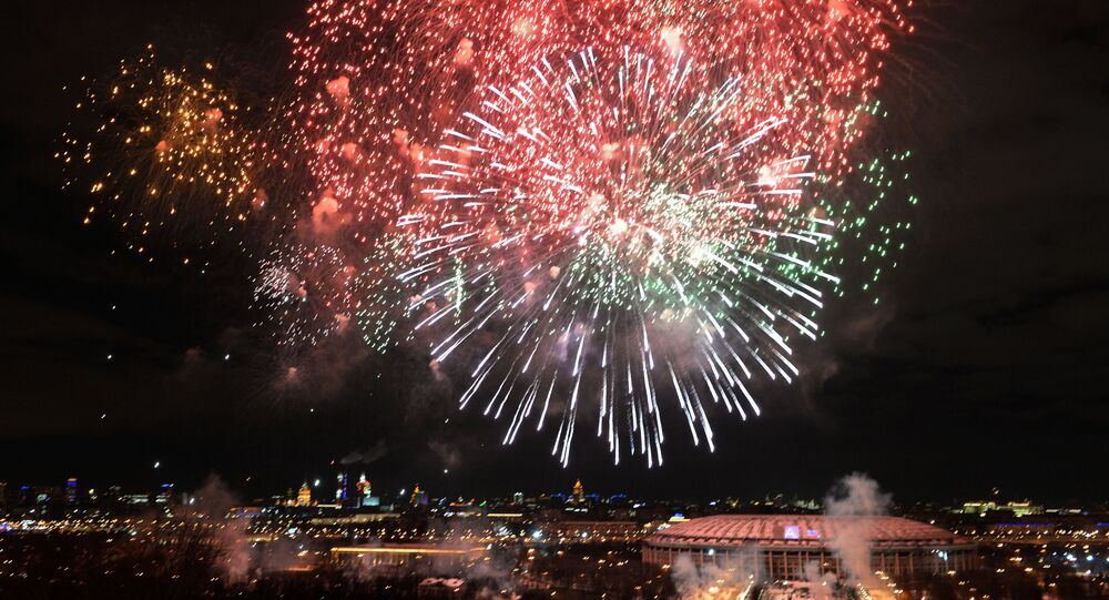 Fireworks marking the Defender of the Fatherland Day in Moscow