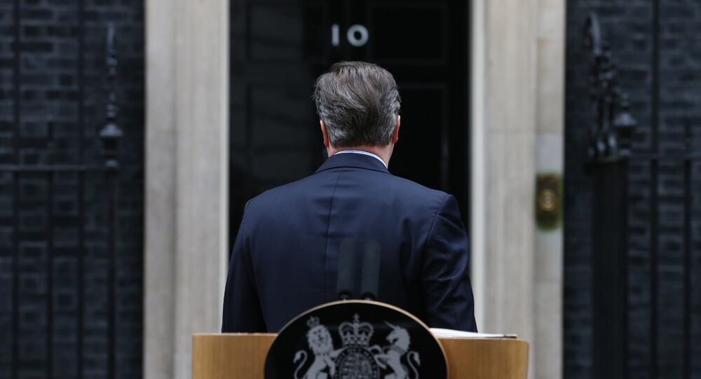 British Prime Minister David Cameron turns to leave after making a statement to the media outside 10 Downing Street in London on February 20 , 2016.