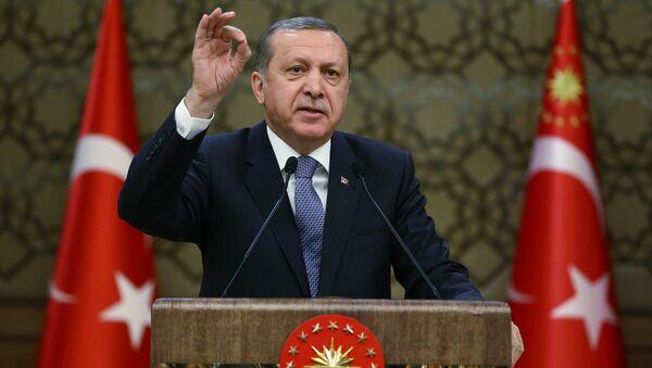 Turkey's President, Recep Tayyip Erdogan, addresses local administrators at his palace in Ankara, Turkey, Wednesday, Feb. 24, 2016 - Sputnik International