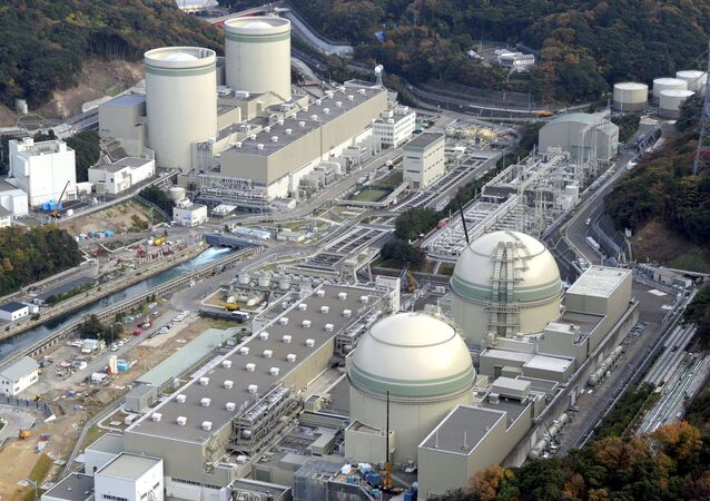 An aerial view shows No. 4 (front L), No. 3 (front R), No. 2 (rear L) and No. 1 reactor buildings at Kansai Electric Power Co.'s Takahama nuclear power plant in Takahama town, Fukui prefecture, in this file photo taken by Kyodo November 27, 2014