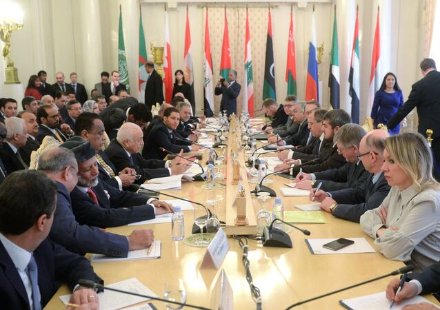 Foreign Minister Sergei Lavrov attends the third session of the Russian-Arab Cooperation Forum