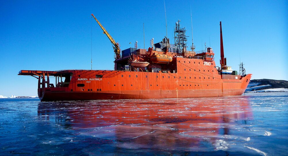 The Aurora Australis ship sits among new ice, moored in Horseshoe Harbour at Mawson Station, Antarctica in this undated file photo supplied by the Australian Antarctic Division February 24, 2016
