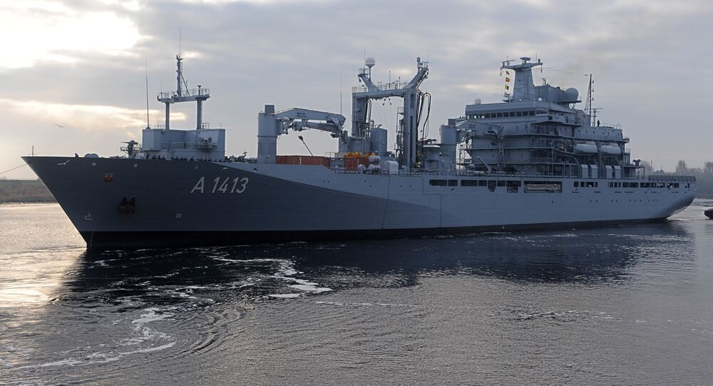 FILE - In this Jan. 14, 2014 file picture the supply ship Bonn leaves the German navy base Wilhelmshaven , Germany. NATO's European commander on Thursday Feb. 11, 2016 ordered three warships to move immediately to the Aegean Sea to help end the deadly smuggling of migrants between Turkey and Greece