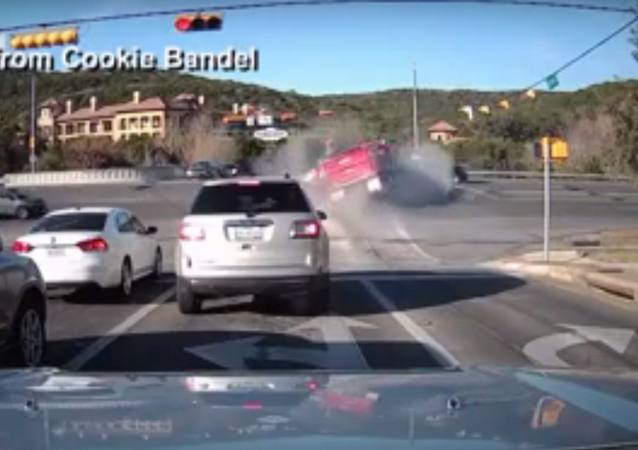 Dump Truck Smashes Into 3 Vehicles, Catches Fire